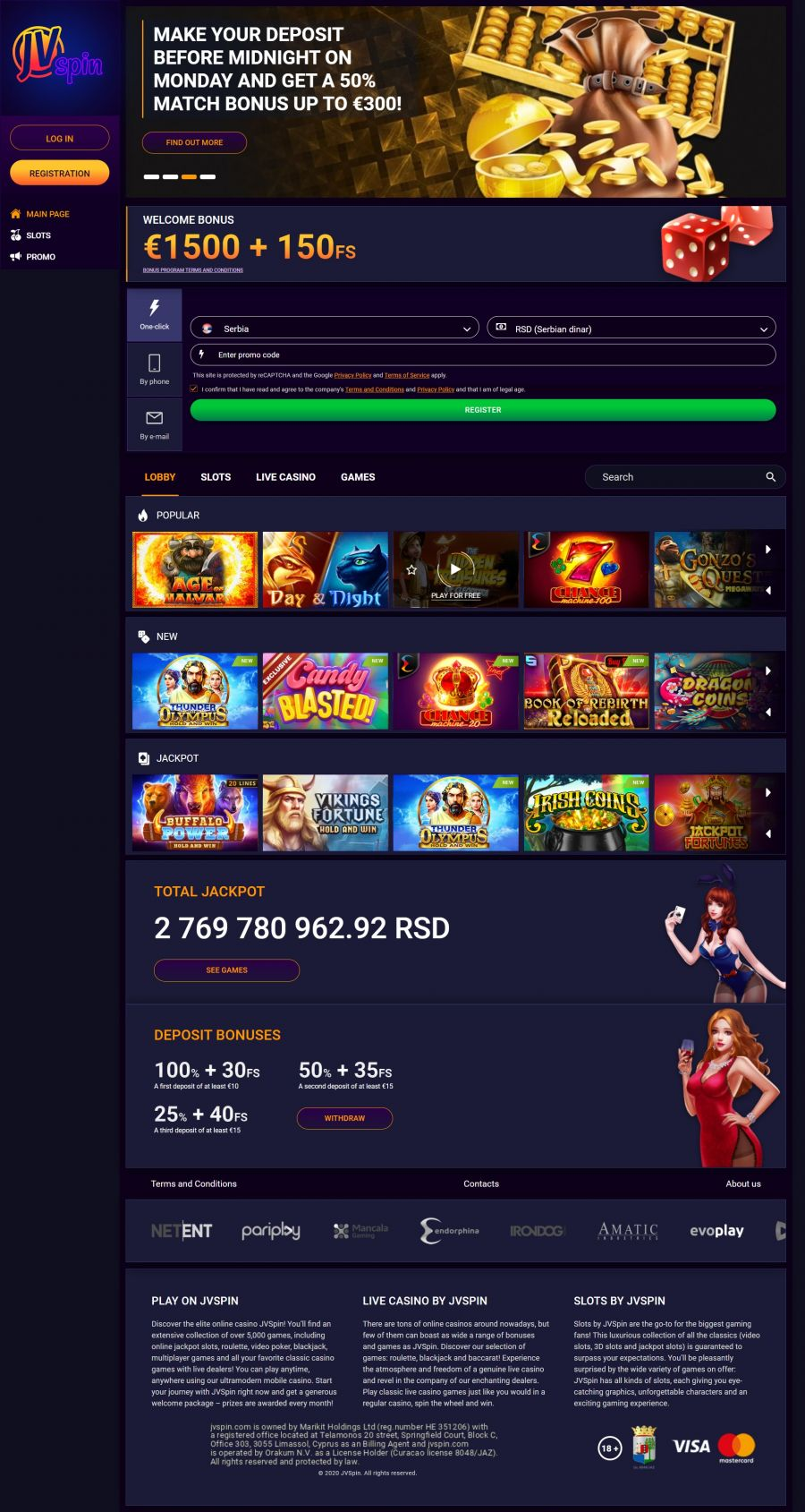 JVSpin Casino  screenshot